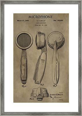 Vintage Microphone Patent Framed Print