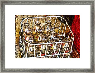 Framed Print featuring the photograph Vintage Milk Bottles In A Crate   by Lesa Fine