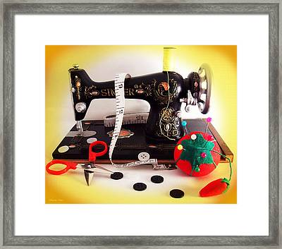 Vintage Mini Sewing Machine Framed Print