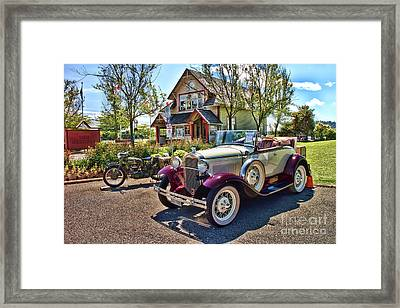 Vintage Model A Ford With Motorcyle Framed Print