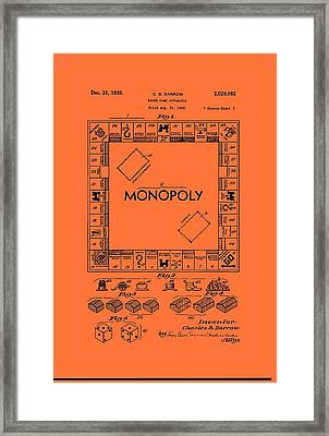 Vintage Monopoly Game Patent Framed Print by Mountain Dreams