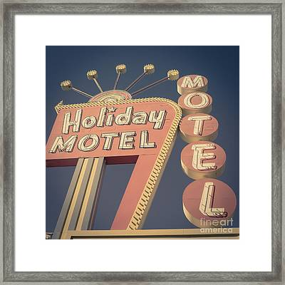 Vintage Motel Sign Square Framed Print by Edward Fielding
