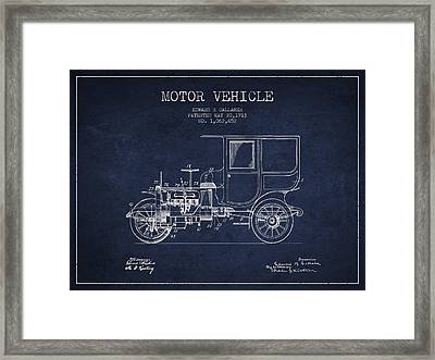 Vintage Motor Vehicle Patent From 1913 Framed Print by Aged Pixel