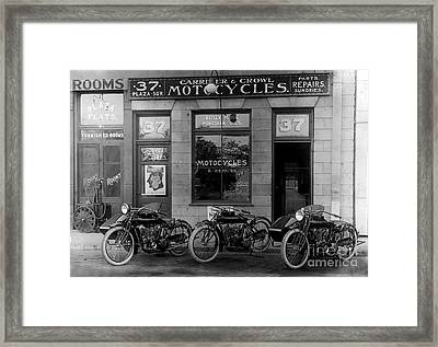 Vintage Motorcycle Dealership Framed Print by Jon Neidert
