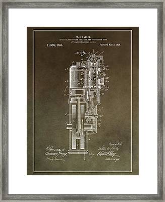 Vintage Motorcycle Engine Patent Framed Print by Dan Sproul