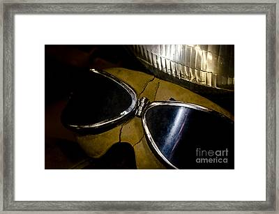 Vintage Motorcycle Goggles Framed Print by Wilma  Birdwell