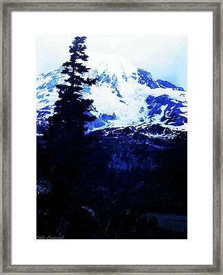 Vintage Mount Rainier And Reflexion Lake In The Foreground Early 1900 Era... Framed Print by Eddie Eastwood