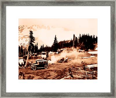 Vintage Mount Rainier Cars And Camp Grounds Early 1900 Era... Framed Print by Eddie Eastwood