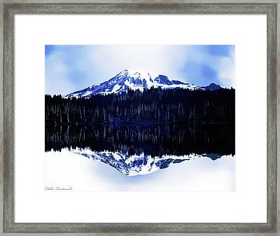 Vintage Mount Rainier From Reflection Lake Early 1900 Era... Framed Print by Eddie Eastwood