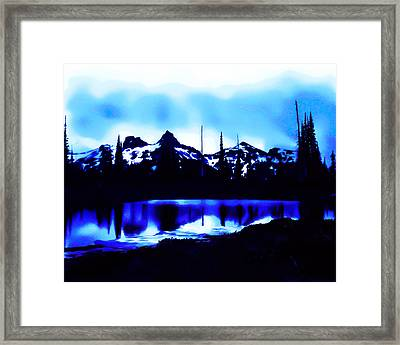 Vintage Mount Rainier With Longmire Springs In The Foreground Early 1900 Era... Framed Print