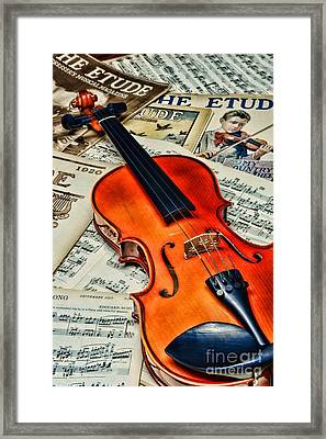 Vintage Music And Violin Framed Print by Paul Ward
