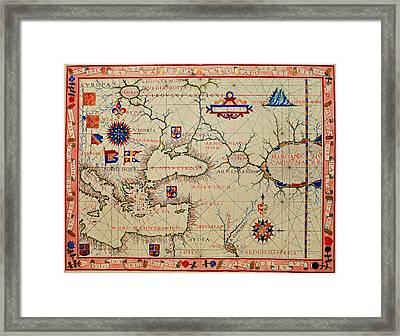 Vintage Nautical Chart - 1570 Framed Print
