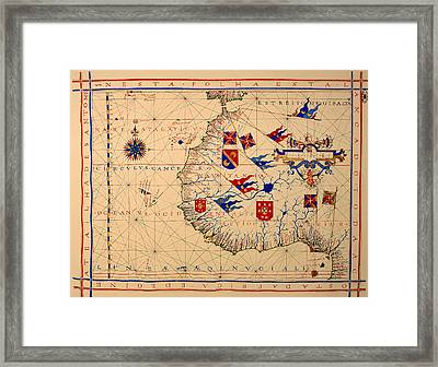 Vintage Nautical Chart - 1571 Framed Print
