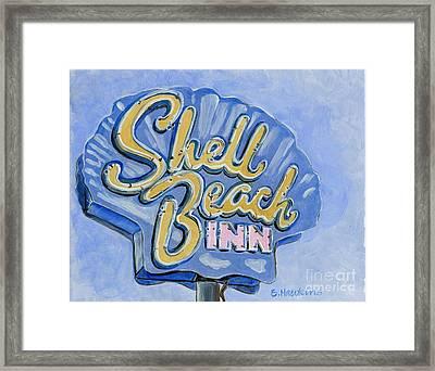 Vintage Neon- Shell Beach Inn Framed Print by Sheryl Heatherly Hawkins