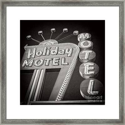 Vintage Neon Sign Holiday Motel Las Vegas Nevada Framed Print by Edward Fielding