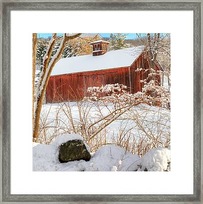 Vintage New England Barn Portrait Square Framed Print by Bill Wakeley
