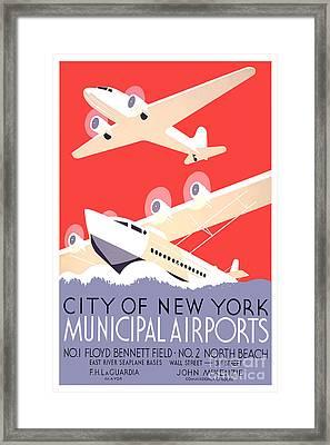 Vintage New York Travel Poster Framed Print by Jon Neidert