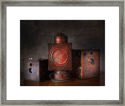 Vintage Oil Darkroom Lamp Framed Print by David and Carol Kelly