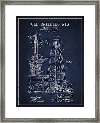 Vintage Oil Drilling Rig Patent From 1911 Framed Print by Aged Pixel
