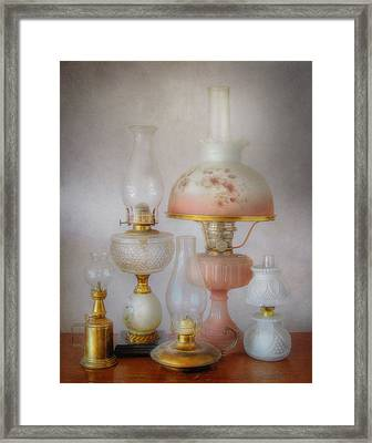 Vintage Oil Lamps Framed Print by David and Carol Kelly