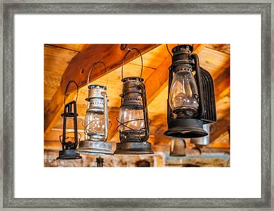 Vintage Oil Lanterns Framed Print by Paul Freidlund