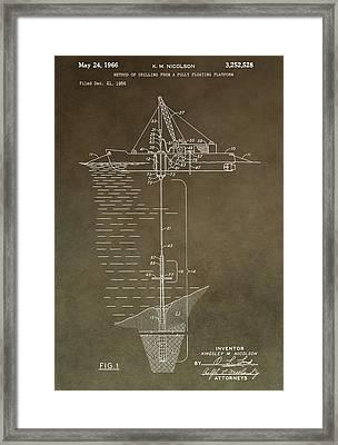 Vintage Oil Platform Patent Framed Print