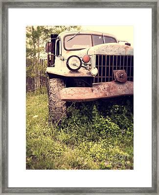 Vintage Old Dodge Work Truck Framed Print by Edward Fielding