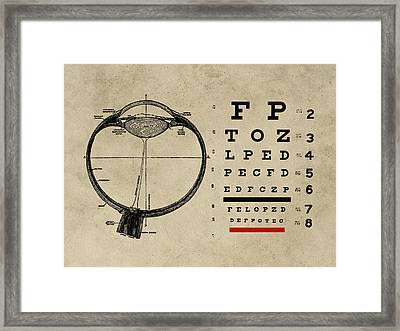 Vintage Ophthalmologist Eye Chart Framed Print by Flo Karp