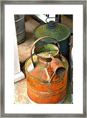 Framed Print featuring the photograph Vintage Orange And Green Galvanized Containers by Lesa Fine