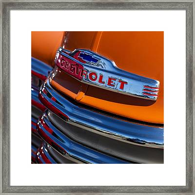 Vintage Orange Chevrolet Framed Print by Carol Leigh