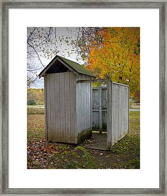 Vintage Outhouse Alongside A Historical Country School In Southwest Michigan Framed Print