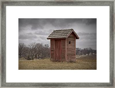 Vintage Outhouse Behind A Historical Country School In Southwest Michigan Framed Print