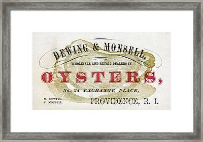 Vintage Oyster Dealers Trade Card Framed Print by Historic Image