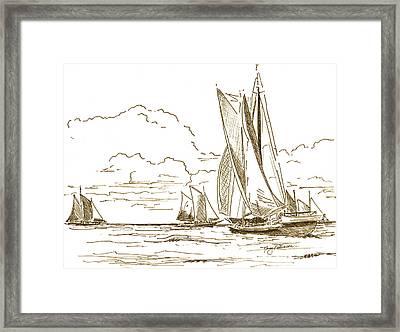 Vintage Oyster Schooners  Framed Print by Nancy Patterson