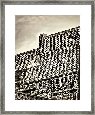 Vintage Painted Signage On Building Framed Print