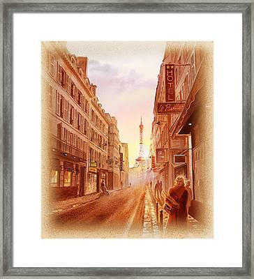 Framed Print featuring the painting Vintage Paris Street Eiffel Tower View by Irina Sztukowski