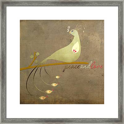 Vintage Peacock Peace And Love Framed Print