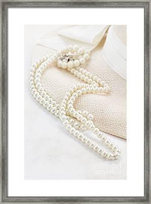Vintage Pearls Framed Print by Stephanie Frey