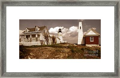 Vintage Pemaquid Point Lighthose Framed Print