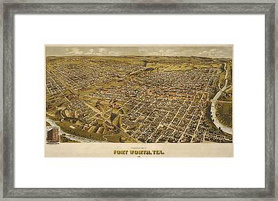 Vintage Perspective Map Forth Worth Texas Framed Print