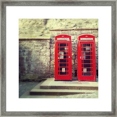 Vintage Phone Boxes Framed Print by Jane Rix