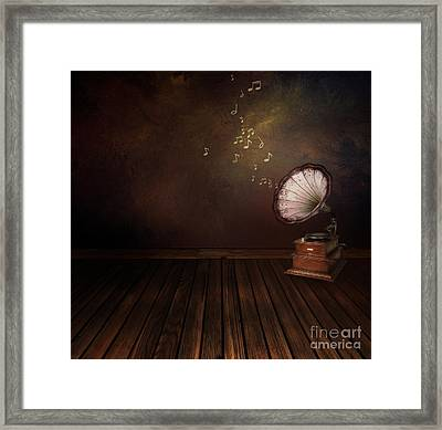 Vintage Phonograph On Art Abstract Background Framed Print by Mythja  Photography