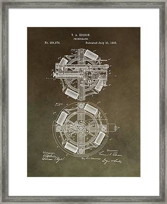 Vintage Phonograph Patent Framed Print by Dan Sproul