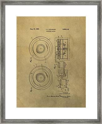 Vintage Phonograph Patent Illustrattion Framed Print