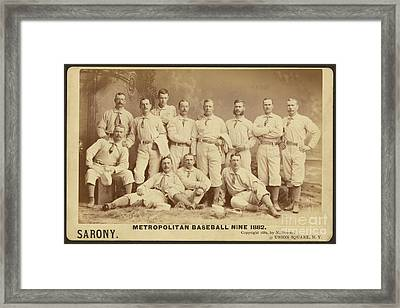 Vintage Photo Of Metropolitan Baseball Nine Team In 1882 Framed Print