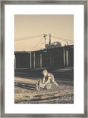 Vintage Photograph Of A Cute Child Pushing Trike Framed Print