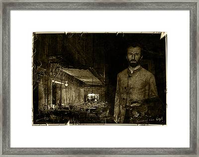 Vintage Photograph Of Vincent At The Cafe Terrace In Arles France In 1888. Framed Print