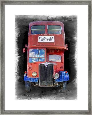 Vintage Picadilly Bus Framed Print by Daniel Hagerman