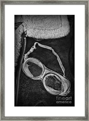 Vintage Pilot Gear In Black And White Framed Print by Paul Ward