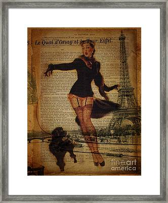 Vintage Pin Up Girl French Poodle Paris Eiffel Tower Framed Print by Cranberry Sky